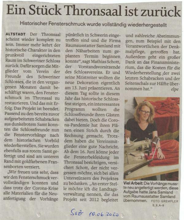 Thronsaal im Schweriner Schloss - historischer Fensterschmuck wieder komplett